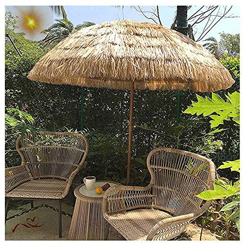 Sombrilla de Playa Hawaiana Hula con Techo de Paja de 1.5 m, Sombrillas de Patio de Playa Impermeable al Aire Libre Parasol para Exterior, jardín, Patio y Playa, Sin La Base
