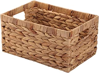 KINGWILLOW Basket Box Woven Natural Water Hyacinth Rectangular with Handle, (Small)