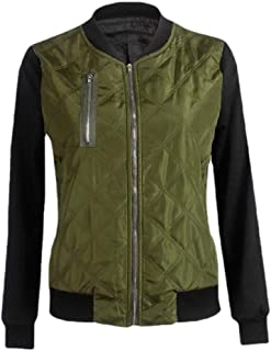 Macondoo Womens Outwear Contrast Color Baseball Quilted Flight Jackets