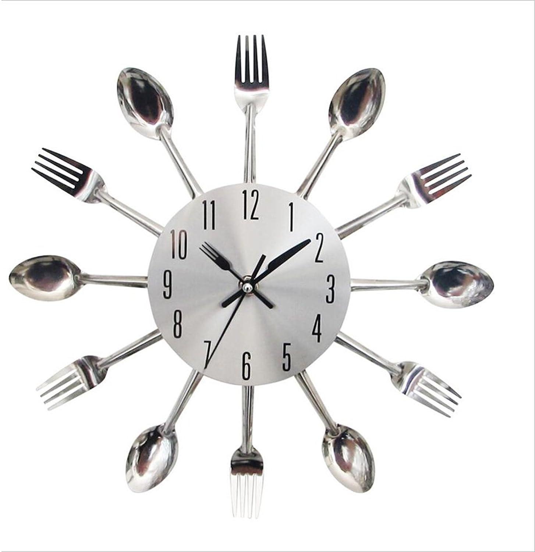 WAZY Tenedor y Cuchara para Cocina Reloj de Parojo de Acero Inoxidable