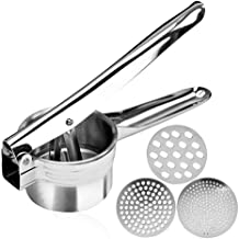 Stainless Steel Potato Ricer – Manual Masher for Potatoes, Fruits, Vegetables, Yams, Squash, Baby Food and More - 3 Interc...