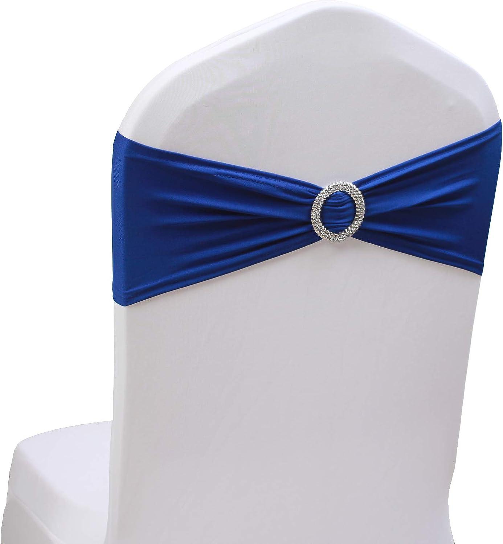 High order SheYang 100PCS Royal Blue Stretch Bows Ranking TOP16 Sashes Elastic Chair Chai