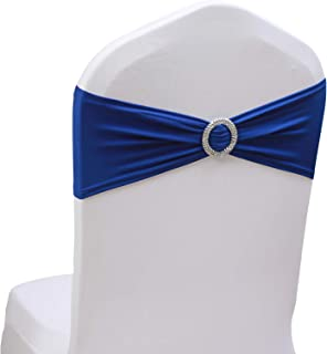 SheYang Stretch Chair Sashes Bows Elastic Chair Bands with Buckle Slider Sashes Bows for Wedding Hotel Banquet Birthday Party Decorations (100PCS, RoyalBlue)