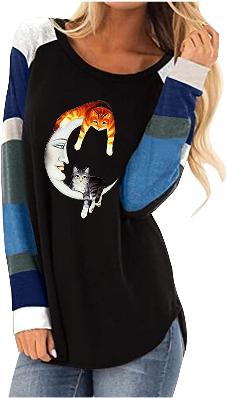 AODONG Halloween Costumes for Women Colorblock Vintage Crewneck Shirts Halloween Print Long Sleeve T-Shirts Casual Tops