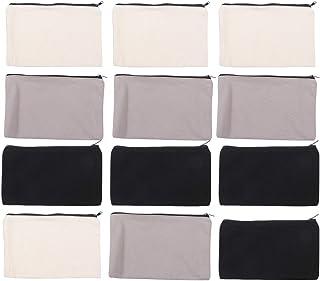 EXCEART Excart 12 Stück Federmäppchen aus Leinen, für Make-up, zum Selbermachen in Weiß, Reißverschlusstaschen aus Leinen, Reisetasche, Kosmetiktasche, Kosmetiktasche mit Reißverschluss