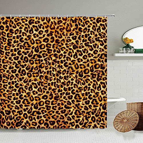 Afrikanischer Stil Leopard Muster Duschvorhang Wild Animal Print Badezimmer Badewanne Dekoration Geschenk wasserdichte Vorhänge Bildschirm-3_90x180cm