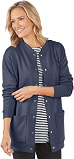 AmeriMark Womens Fleece Cardigan Sweater Jacket Snap Buttons Two Patch Pockets