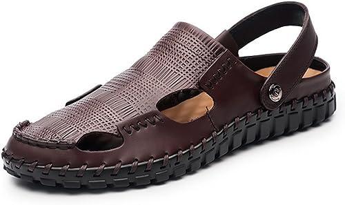 Herren Sommer Sandalen,Weißhen Sohle Strand Schuhe Baotou Rutschhemmende Sandalen
