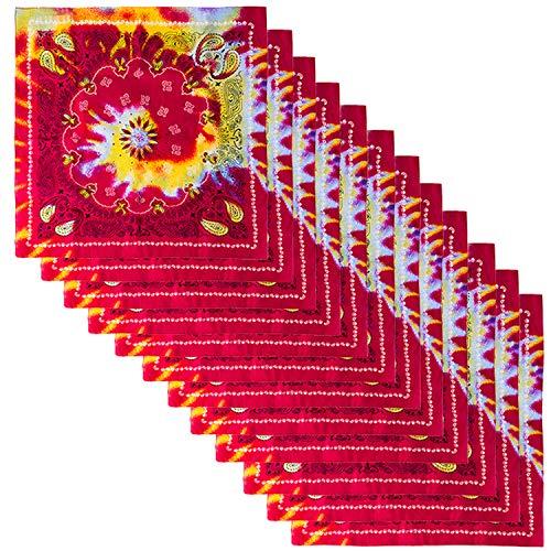 Tie Dye Paisley Bandanas - Colorful Bandannas - Rainbow Hippie Bandana - Bulk 12 Pack - CoverYourHair