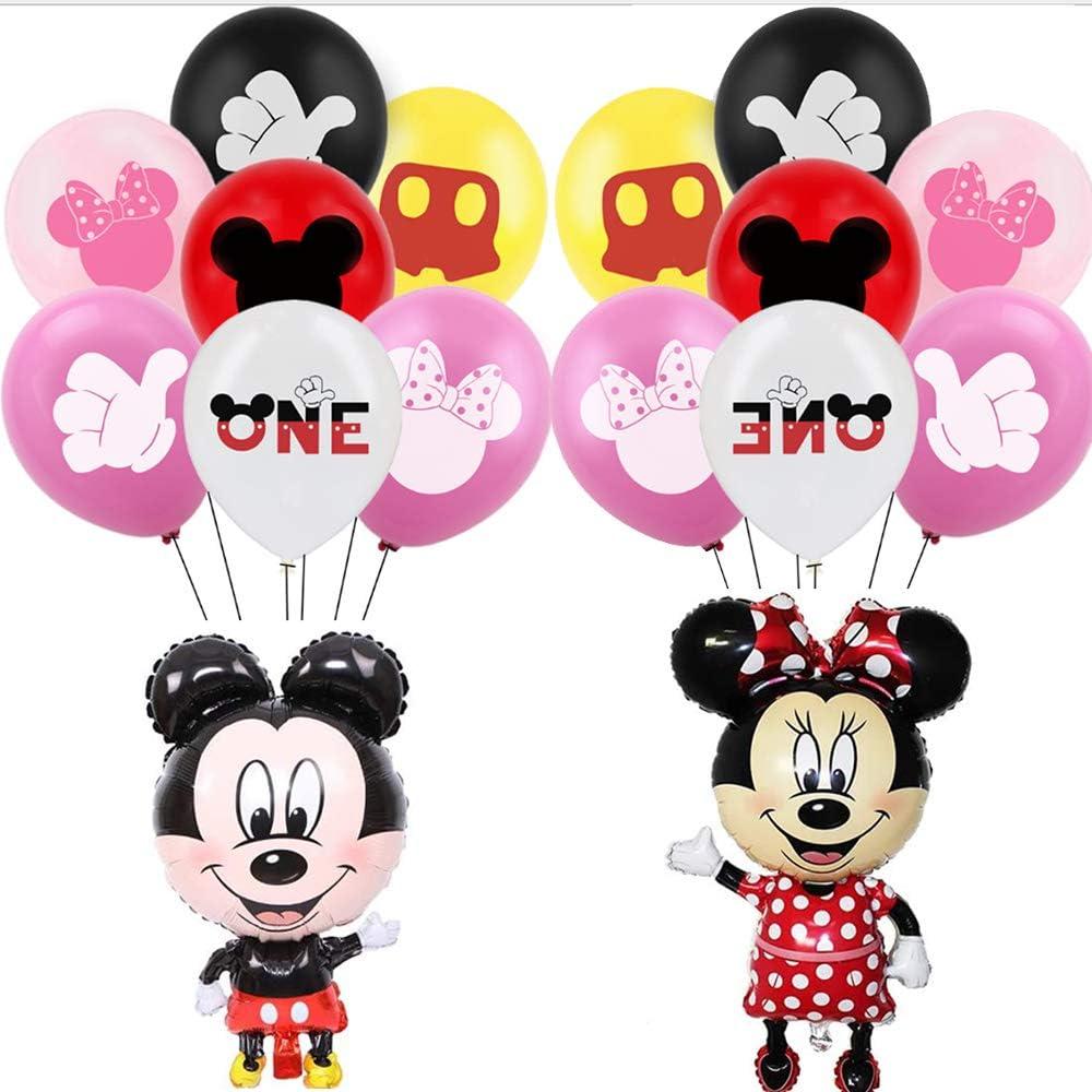 PAWT Globos Juego de globos de papel de aluminio para cumpleaños, Globo de aire Mickey Minnie Decoración de cumpleaños para niños Decoración