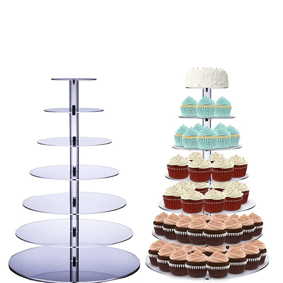 7 Tiers Cupcake Stand Round Acrylic Cupcake Display Cake Tower Dessert Stand Wedding Cupcake Stands for Wedding Birthday