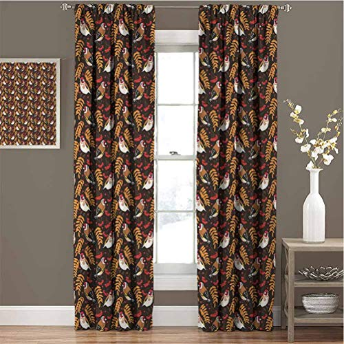 GUUVOR Birds Blackout Curtain Set Goldfinch Pattern with Rowan Berry and Seasonal Foliage Leaves Autumn Flora and Fauna Kindergarten Shading insulationW72 x L72 Inch Multicolor