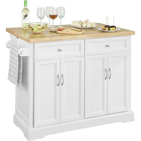 SoBuy® FKW71-WN Desserte sur roulettes Meuble de Cuisine de Service Roulant avec Plans de Travail Rabattable - Grande Armoire de Rangement