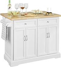 SoBuy wyspa kuchenna na kółkach wózek kuchenny z 2 szufladami,Biały,FKW71-WN