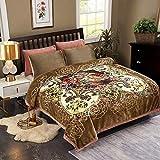 JML Plush Raschel Blanket, Korean Mink Blankets - Silky Soft, 2 Ply Printed Fleece Blanket (Brown, Queen)