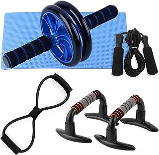 5 PCS Home Gym Fitness Set Abdominal Roller Wheel 8 Shape Resistance Band Jump Rope Push up Bars Pack Kit