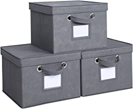 Foldable Storage Cubes with Lids and Metal Eyelet Handles,Fabric Storage Bins Collapsible Basket Box Container with Label ...