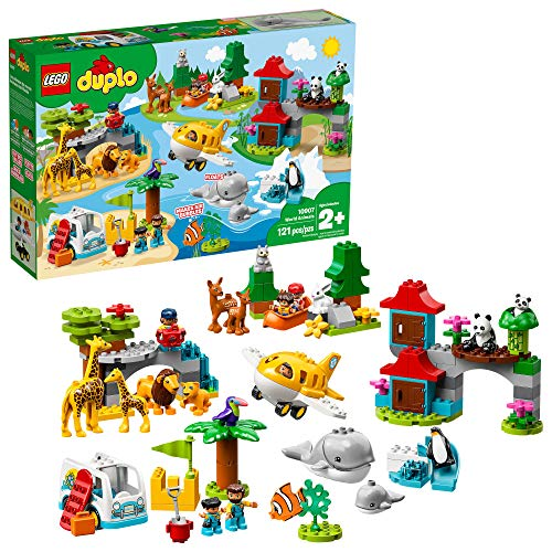 LEGO DUPLO Town World Animals 10907 Building Bricks, New 2019 (121 Pieces)