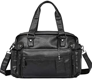 KEHUITONG Men's Leather Briefcase - Men's Leather Tote, Shoulder Crossbody Bag, Fashion Travel Casual Bag, Large Capacity Bag Toothbrush, comfortable electric toothbrush, easy (Color : Black)