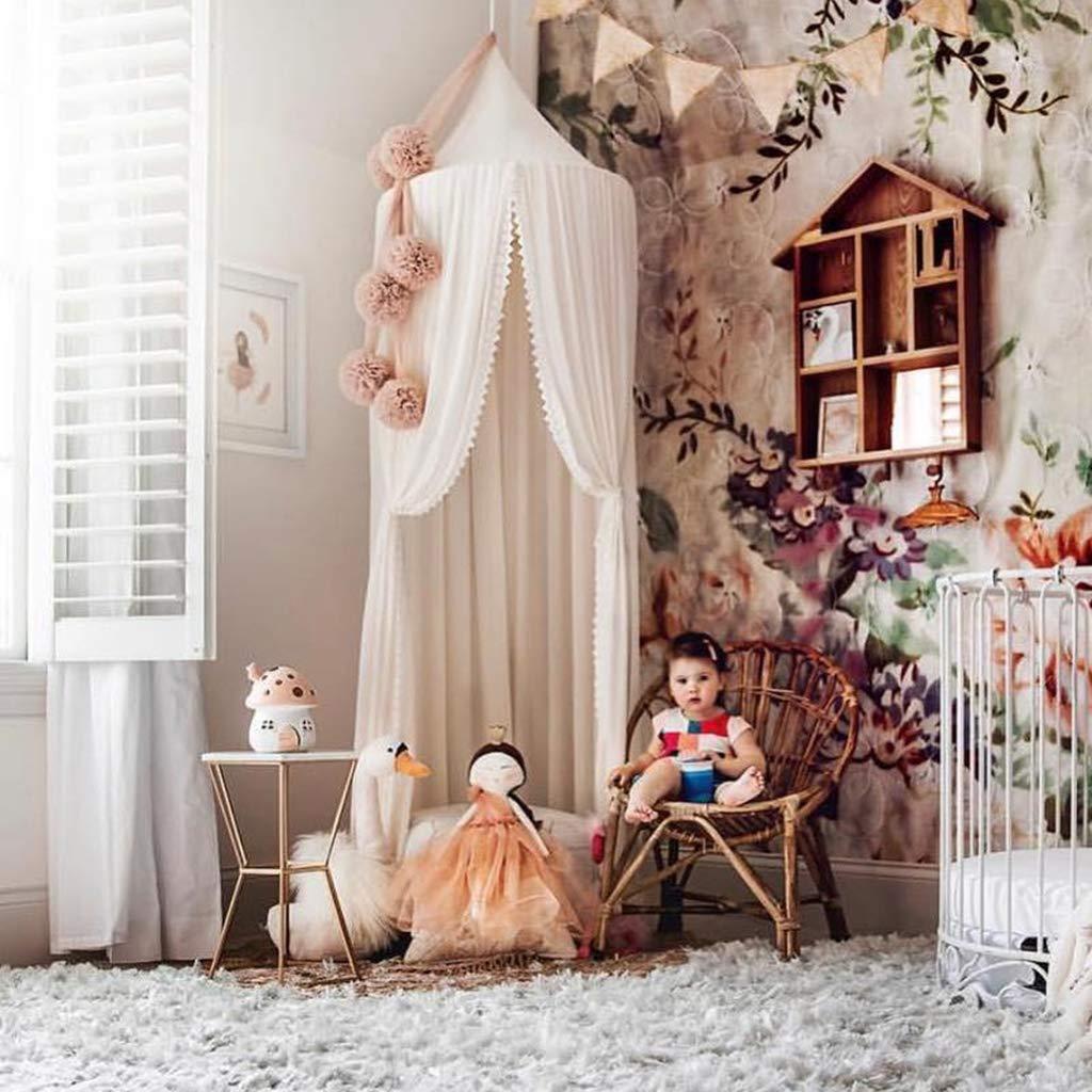 Spitzenborte Baldachin Betthimmel Moskitonetz aus Spitze,Insektenschutz Kinder Prinzessin Spielzelte Dekoration fürs Kinderzimmer mer, Höhe 250cm, Farbe Weiß Weiß
