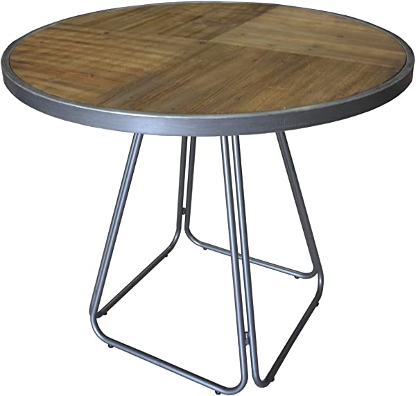 Herrera Round Gathering Height Dining Table In Rustic Fir With Shaped Tubular Steel Frame And Solid Pieced Wood Top By Artum Hill