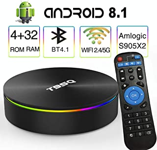 Android 8.1 TV Box,EASYTONE T95Q Android Boxes Quad-Core S905X2 64bit 4GB RAM 32GB ROM Support 5G WiFi/H.265/ BT4.1/ USB 3.0/ 1000M LAN/ 4K Ultra HD [2019 Newest]