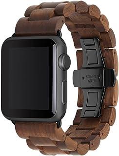 Woodcessories - Pasek kompatybilny z zegarkiem Apple Watch Series 1, 2, 3, 4, 5, 6, SE z prawdziwego drewna - EcoStrap (or...