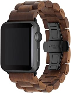 Woodcessories - Band Compatible with Apple Watch Series 1-5 Made of Real Wood, EcoStrap (40/42 mm, Walnut/Black)