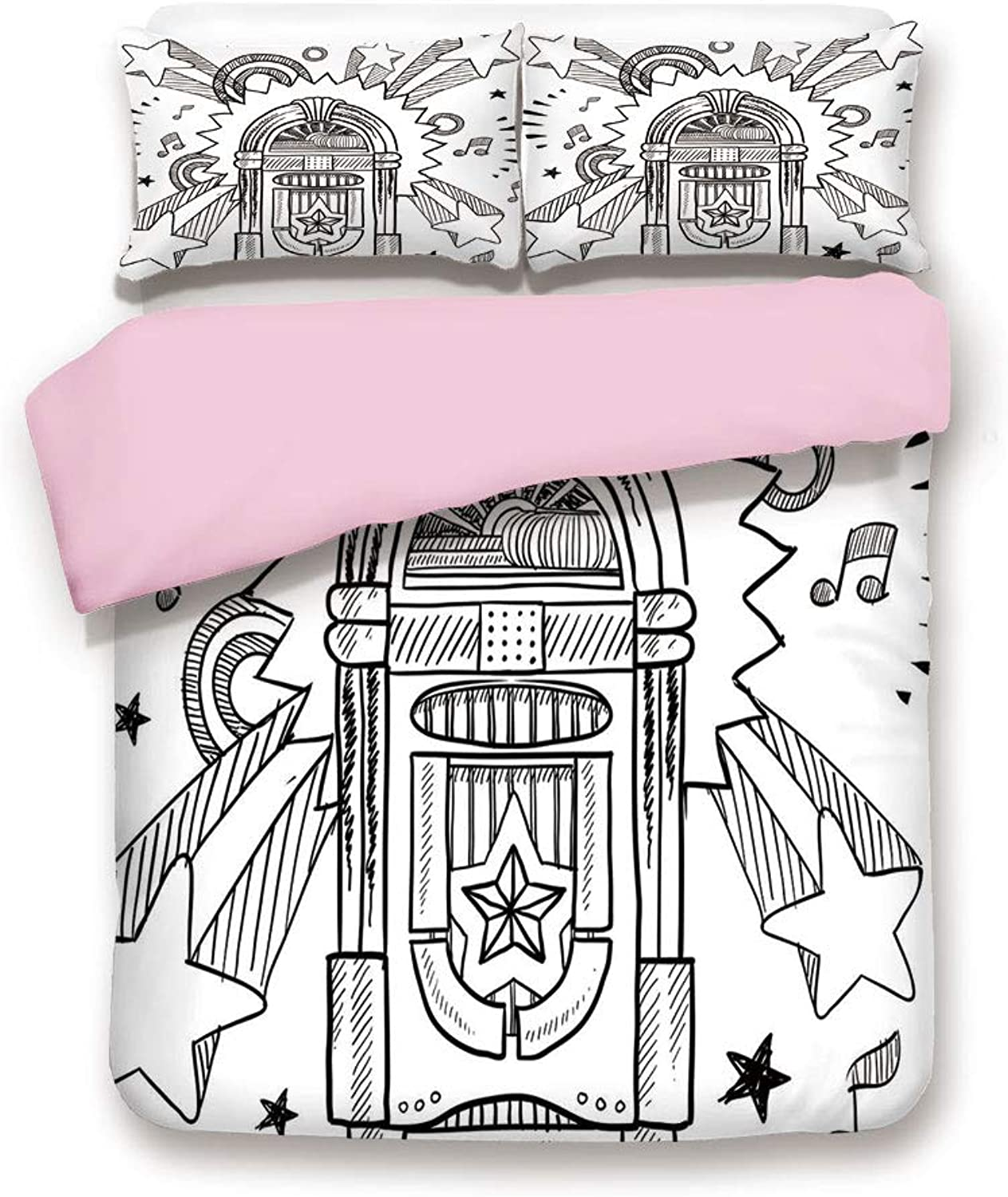 Pink Duvet Cover Set,Queen Size,Retro Vintage Cartoon Sketchy Style Radio Music Notes Box with Stars Image,Decorative 3 Piece Bedding Set with 2 Pillow Sham,Best Gift for Girls Women,Black and White