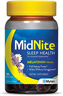 MidNite Gummies, Drug-Free Sleep Aid, Cherry Flavored, 36 Gummies, Melatonin & Herbs Dietary Supplement,