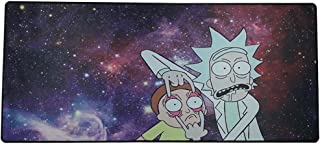 Large Gaming Mouse Pad, Extended Stitched Edges Mouse Pad with Rubber Base,Optimized Accuracy and Control for All Computer Mouse,Fits Both Mouse & Keyboard (Rick and Morty, 900mm×400mm×2mm)