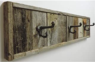 Reclaimed Barn Wood Towel Rack 3 Hook Wall Mounted 28.5 inches, Decorative Rustic Farmhouse Bathroom Accessories, Wooden B...
