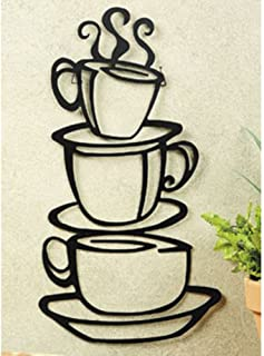 Super Z Outlet Black Coffee Cup Silhouette Metal Wall Art for Home Decoration, Java..