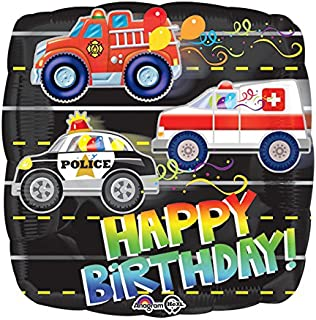 Amscan 3332001 Happy Birthday Rescue Vehicles Foil Balloons