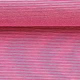 Jersey Bella, Baumwolle, Streifen, 1 mm, rosa/Erika Ökotex