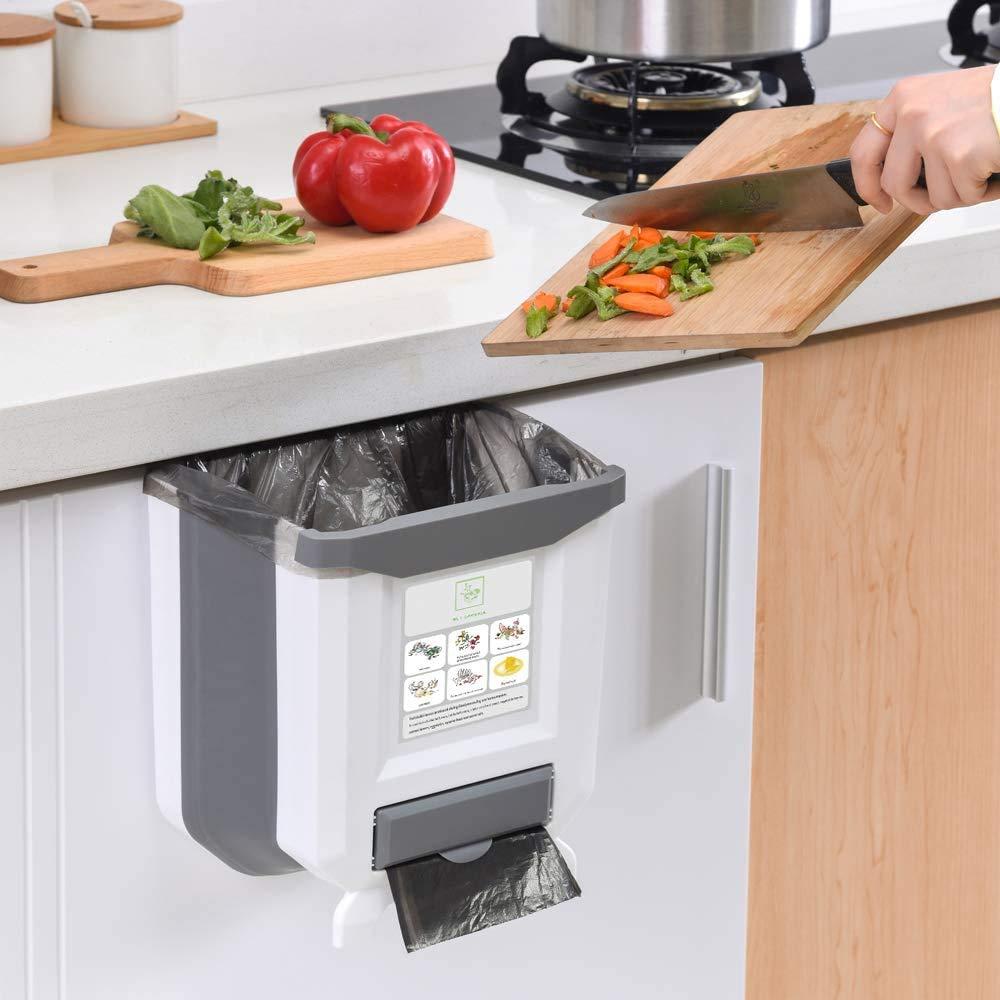 Hanging Kitchen 25% OFF Trash Can HI New Free Shipping NINGER Kitc for Bin Foldable Waste
