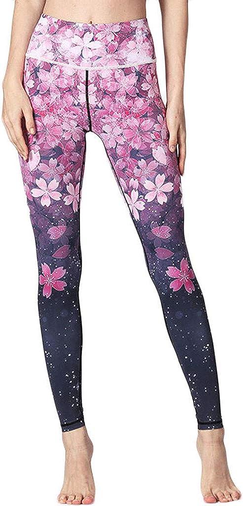 F_Gotal Women's Printed Yoga Leggings High Waist Tummy Control Workout Leggings Tights Athletic Gym Jogger Sweatpants
