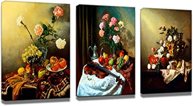 axyofsp Flowers Restaurant Wall Art Printing Oil Paintings Still Life on The Table Giclee Prints for Home Decorations, 3 Panels