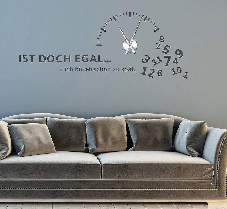 Tjapalo® gr-pkm270 Wandtattoo Wohnzimmer modern Wanduhr Wandtattoo Büro Wandsticker wandtatoo uhr spruch Wandtattoo Uhr mit Uhrwerk 120x47cm B07MXKV83R