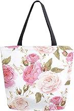 HMZXZ RXYY Frühling Blumen- Blume Rose Muster Segeltuch Tasche Schwer Pflicht Groß Frauen Beiläufig Schulter Tasche Handtasche Wiederverwendbar Einkaufen Tasche Bag für Draußen Reise