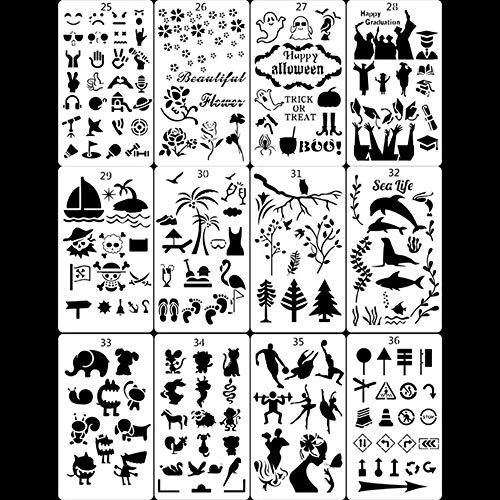 witgift 12 Stück Schablonen Kunststoff,Piraten Tier Abschluss Blume Schablone für DIY Steinmalerei Steine Wandbodenfliesen Kunstbedarf