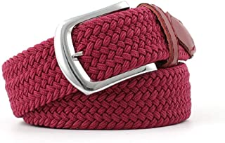 SGJFZD Men's Canvas Belt Elastic Woven Belt Fashionable Ladies Casual Elastic Belt (Color : Dark red, Size : 107 * 3.3cm)
