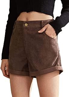 MAKEMECHIC Women Corduroy Roll Up Hem Pocket Button Front Shorts