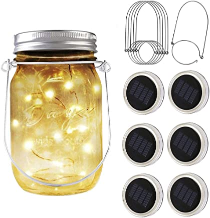 PAPRMA 6 Pack Solar Mason Jar Lid Lights, 20 LED Jar Lid Fairy String Lights
