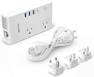 BESTEK 220V to 110V Voltage Converter, 200W Power Converter & Universal Travel Adapter 7.2A 3-Port USB Charging 1-Port USB-C Charging UK/AU/US/EU Worldwide Plug Adapter (White)