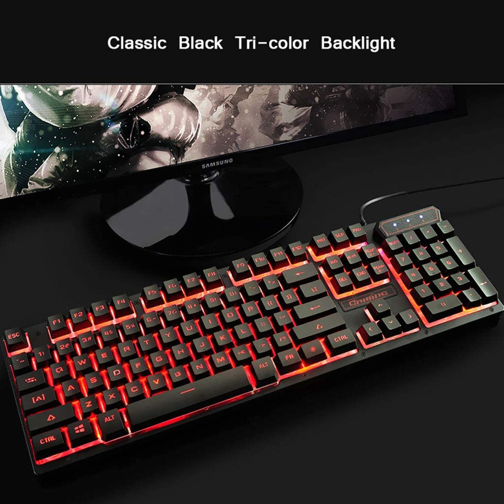 Color : Marine Blue Backlight Wired Keyboard Laptop Desktop Game Office Home Mute Colorful Backlight Floating Keycap Mechanical Feel