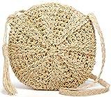 Straw Crossbody Bag,Women Straw Shoulder Bag Summer Beach Straw Bag Purse For Travel Beige