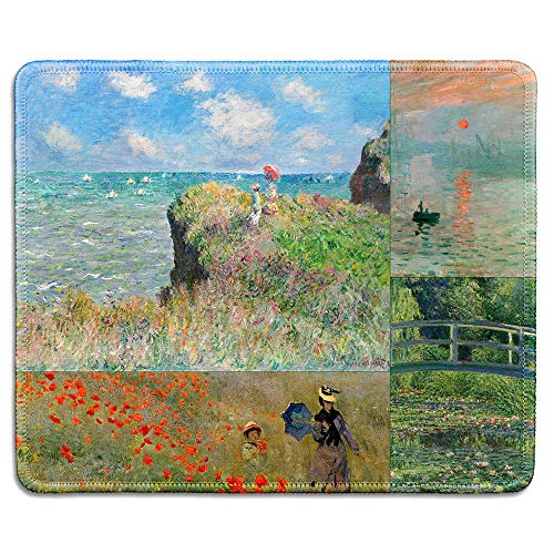 dealzEpic - Art Mousepad - Natural Rubber Mouse Pad Printed with Claude Monet Impression Paintings Art Collage - Stitched Edges - 9.5x7.9 inches