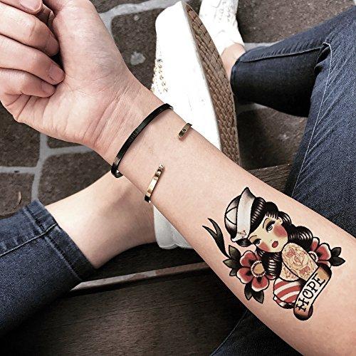 Tatuaje Temporal de Pin Up Girl Color (2 Piezas) - www.ohmytat.com