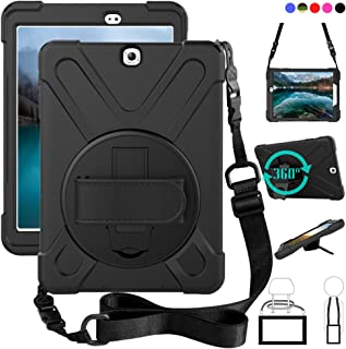 Galaxy Tab S2 9.7 Case, dropproof High Impact Resistant Heavy Duty Armor Cover W/Hand Strap Handle Shoulder Belt Carry case for Samsung SM-T810/SM-T813/SM-T815 T810 9.7 inch Tablet(Black)